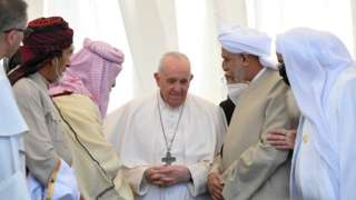 Pope Francis attends an inter-religious prayer at the ancient archaeological site of Ur, 6 March