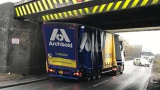 Lorry stuck under bridge on A5 in Hinckley