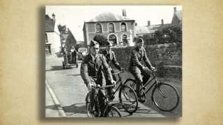 Airmen on bicycles