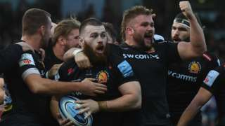 Exeter celebrate a try