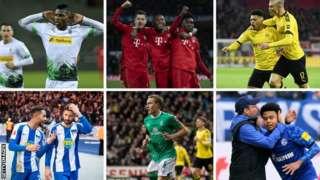 Borussia Monchengladbach, Bayern Munich, Borussia Dortmund, Hertha Berlin, Werder Bremen, Schalke