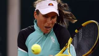 Johanna Konta returns against Coco Gauff at the French Open