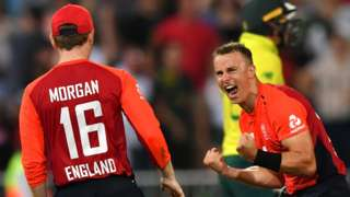 England's Tom Curran celebrates victory over South Africa