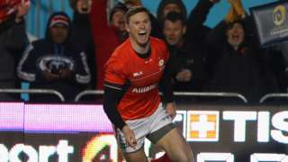 Saracens' Chris Ashton celebrates his try