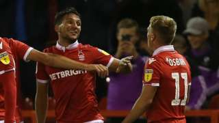 Joao Carvalho celebrates Forest's second goal