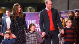 The Duke and Duchess of Cambridge and their children, Prince Louis, Princess Charlotte and Prince George