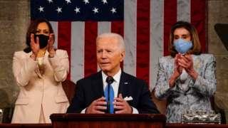 조 바이든 미국 대통령이 28일(현지시간) 미국 의회에서 취임 후 첫 연설을 했다
