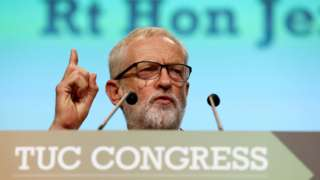 Jeremy Corbyn speaking at the TUC Congress