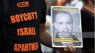 Pro-BDS demonstrator at rally in Toulouse, France (file photo)