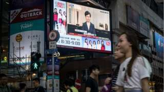 Carrie Lam broadcast for di streets of Hong Kong. 4 Sept 2019