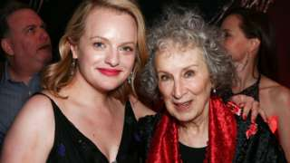 Actress Elisabeth Moss (left) with Margaret Atwood