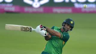 Pakistan opener Fakhar Zaman plays a shot in the second one-day international against South Africa