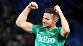 Tom Cleverley celebrates scoring for Watford against Crystal Palace