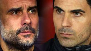 Composite close-up of rival managers Pep Guardiola and Mikel Arteta