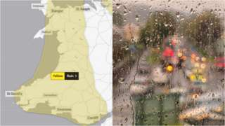 Met Office weather alert map of Wales and image of Swansea taken through raindrop covered window