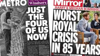 Composite image of the Metro and Mirror front pages
