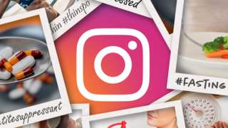 Graphic of Instagram and stock photos