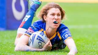 Courtney Hill scores a try for Leeds
