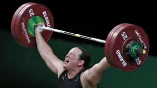 New Zealand's Laurel Hubbard competes during the women's +90kg weightlifting final at the 2018 Gold Coast Commonwealth Games in Gold Coast on 9 April 2018