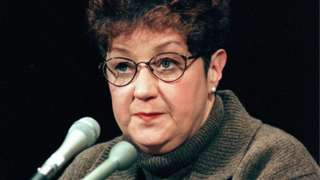 This 21 January, 1998, file photo shows Norma McCorvey, the woman at the center of the US Supreme Court ruling on abortion, testifies before a US Senate Judiciary Committee subcommittee during hearing