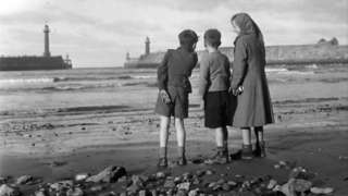 Children at low tide in Whitby