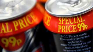 Cans of cider with a 'Special Price 99p' offer