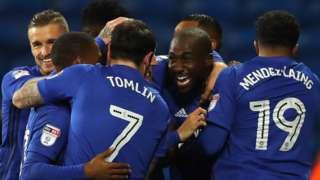 Cardiff celebrate Sol Bamba's goal