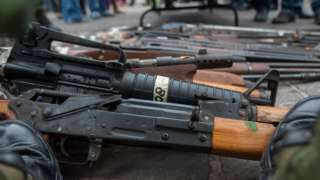 An assortment of weapon from the more than five thousand used in felonies and seized by the Mexican Army from drug traffickers in the states of Tamaulipas and San Luis Potosi, in Monterrey, Mexico, on January 17, 2017.