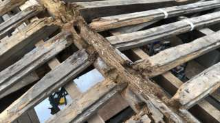 Rotten roof timbers revealed