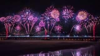 fireworks at bridge