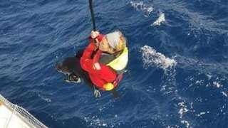 The Chilean Maritime Rescue Coordination Centre tweeted a picture of Goodall being rescued