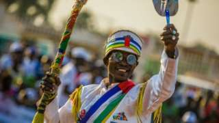 Supporters of current Central African Republic President and presidential candidate Faustin-Archange Touadera