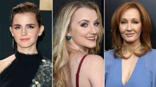 Emma Watson, Evanna Lynch and JK Rowling