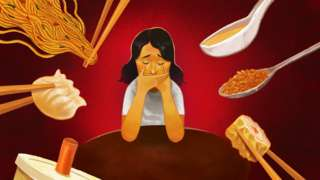 Illustration showing young woman covering her mouth whilst spoons and chopsticks enter the frame looking like she doesn't want to be fed.