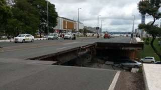 Road collapse in Brasilia, Brazil