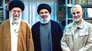 عکس قاسم سلیمانی، حسن نصرالله و آیت الله خامنهای