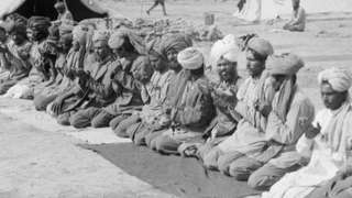 Muslim soldiers offering prayers during World War One