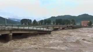 Damaged bridge in North Korea