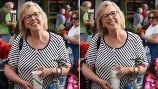 원본 사진(왼쪽)과 컵이 조작된 사진(오른쪽)