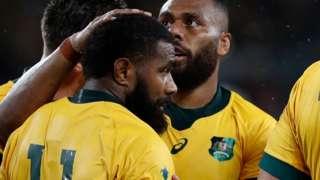 Australia celebrate Marika Koroibete's try