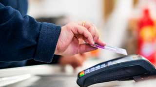 Shopper uses contactless