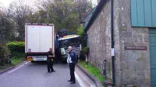 Two lorries stuck on the road through Melbury Abbas