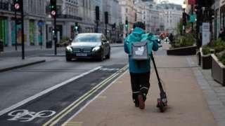 A Deliveroo rider in Regent Street