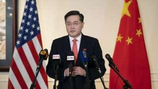 秦刚在美国华盛顿向中美媒体发表讲话(新华社图片28/7/2021)