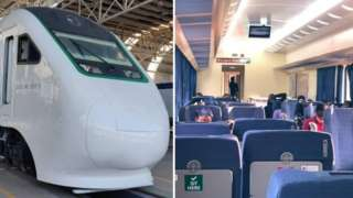 Outside and inside of di new Lagos - Ibadan train