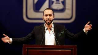 El Salvador's president-elect Nayib Bukele talks during the presentacion of downtown San Salvador Revitalization Project at the National Theater in San Salvador, El Salvador April 2, 2019.