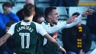 Plymouth Argyle's Antoni Sarcevic celebrates scoring against Bradford City