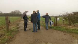 Campaigners at the site