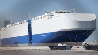MV Helios Ray, docked at Dubai following explosion that damaged its hull (28 February 2021)