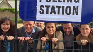 Heidi Allen with campaigners at polling station